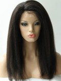 Stock Italian Yaki Brazilian Virgin Human Hair Full Lace Wig-sst025