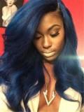 Custom Blue Wavy Full Lace Human Hair Wig-WC056