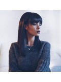 Instagram Trendy full lace human hair bob with bang-CR068