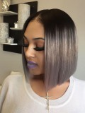 Stock Grey Indian Virgin Lace Front Human Hair Bob With Dark Roots -LF008