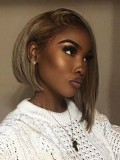 Beautyrebellion Asymmetric Ombre Human Hair Lace Front Bob -LF006