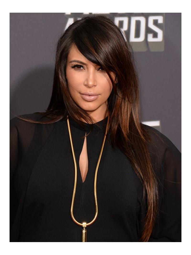 Kim Kardashian Dark Hair With Highlights Custom kim kardashian ...