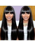Custom Long Straight Human Hair Full Lace Wig with Bang-Straight-sc037