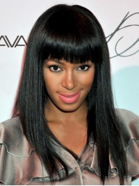 Custom Solange Knowles Straight Full Lace Wig with Bang-Straight-sc040