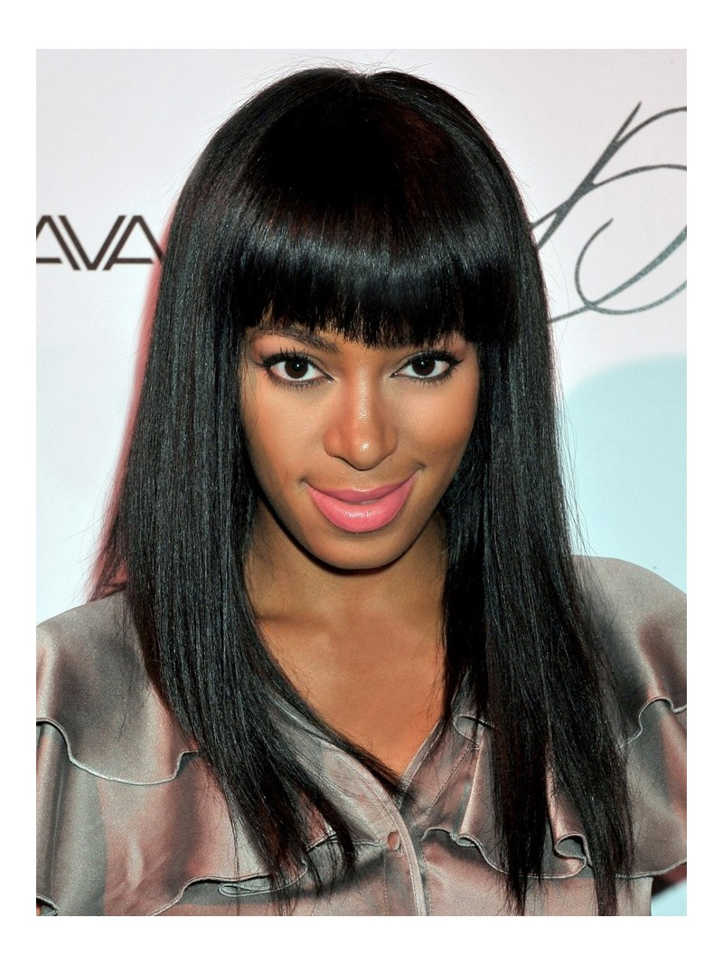 Stock Solange Knowles Straight Full Lace Wig With Bang