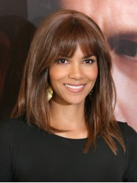 Custom Halle Berry Straight Full Lace Wig with Bang-Straight-sc041