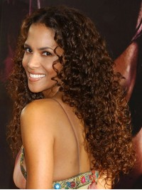 Stock Halle Berry Curly Human Hair Full Lace Wig-Curly-cst001