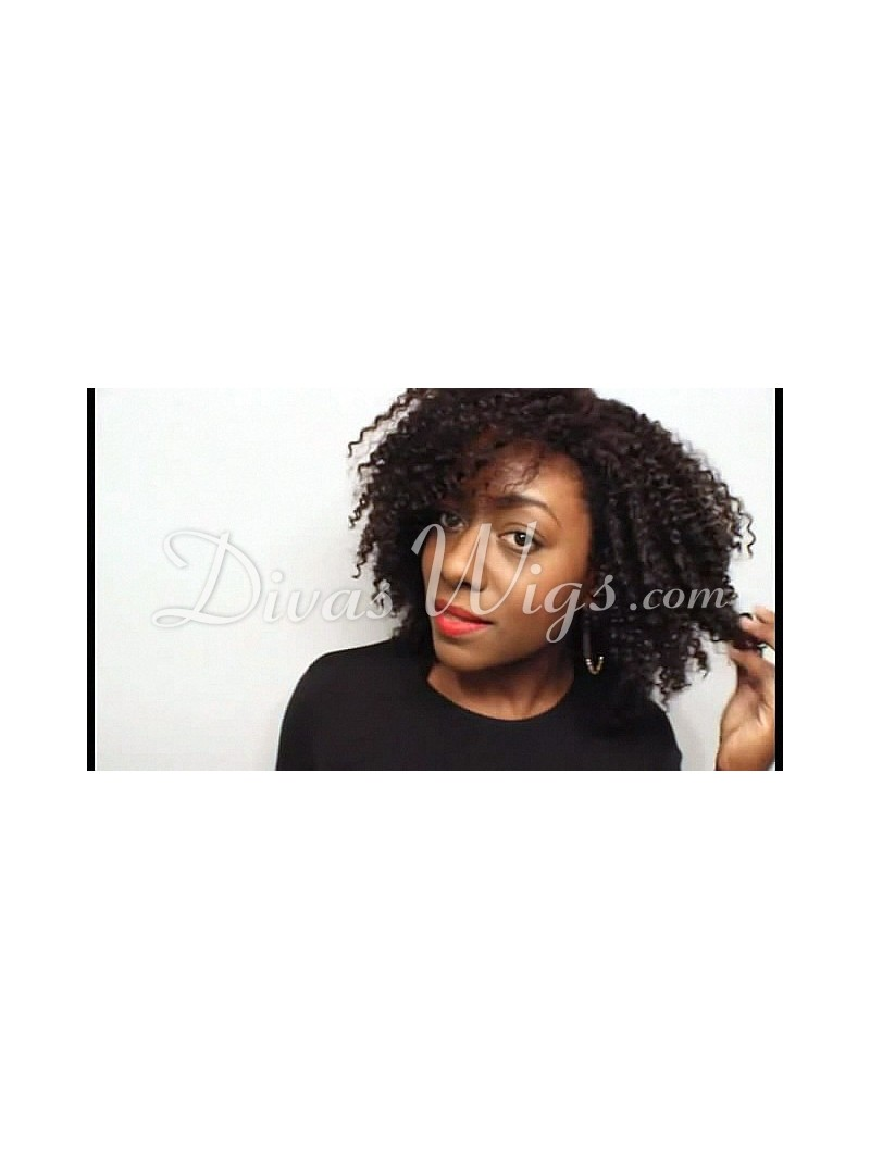 Stock Brandy Norwood Curly Human Hair Full Lace Wig Curly Cst002