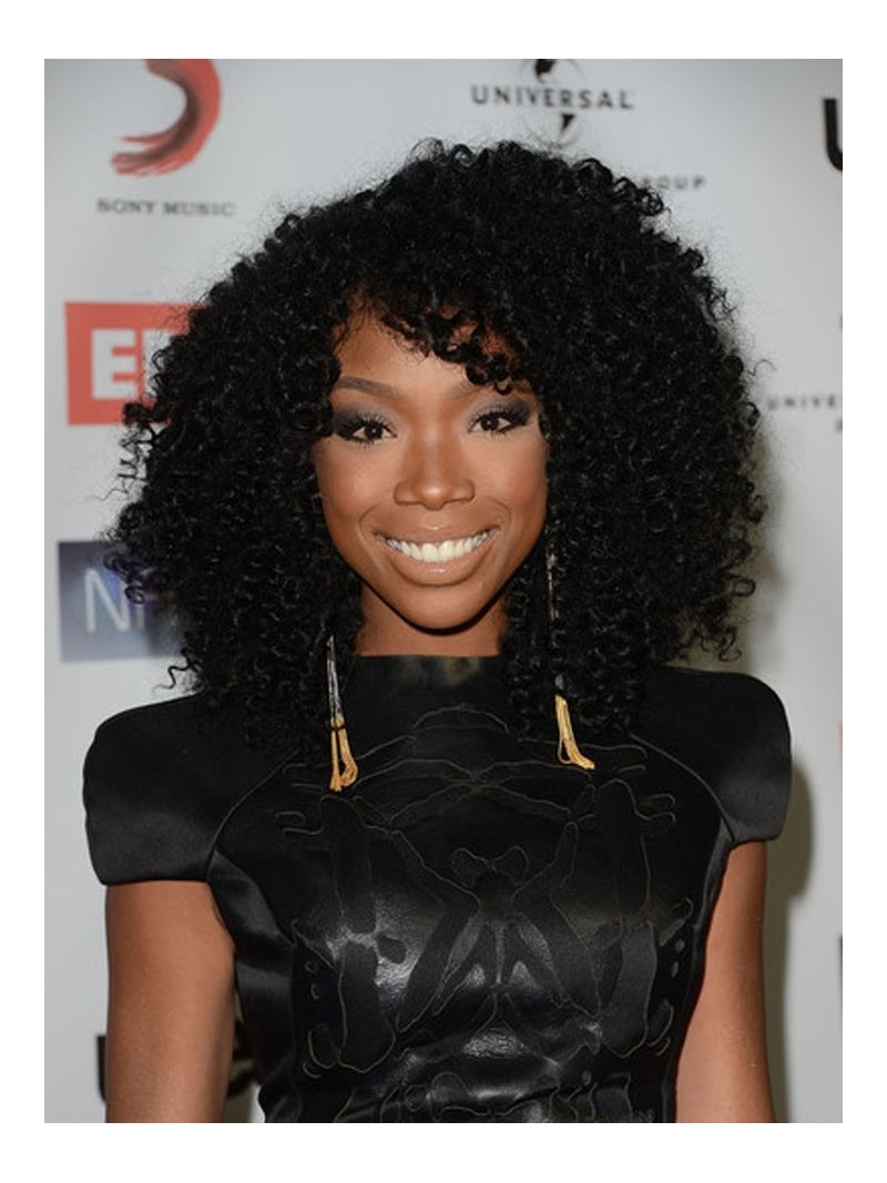 Stock Brandy Norwood Curly Human Hair Full Lace Wig Curly Cst004