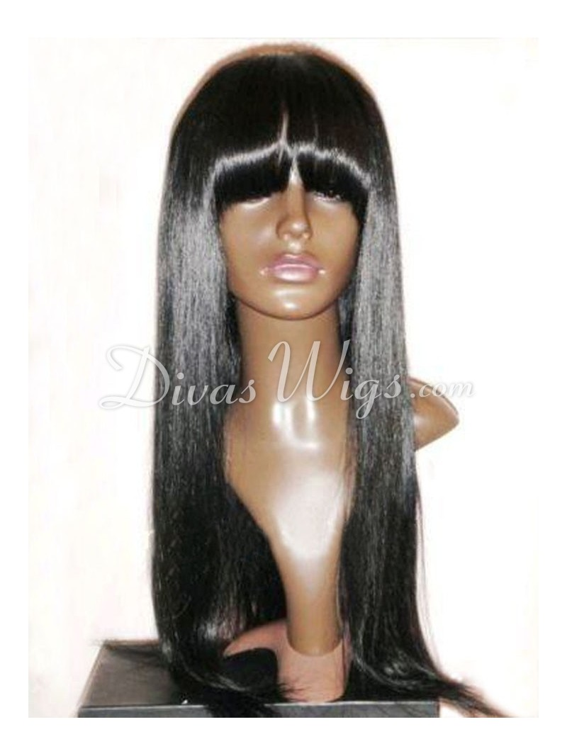 Stock Straight Full Lace Human Hair Wig With Bang Sc004