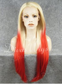"24"" Blonde Ombre Red Straight Synthetic Lace Wig-sy086"