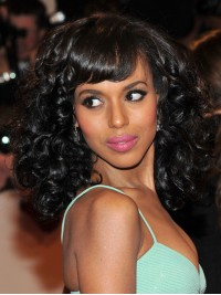 Kerry Washington inspired Wavy Full Lace Wig with Bang-wc112