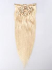 #613-Platinum blonde Virgin Clip In Hair Extension-Silky Straight-#613