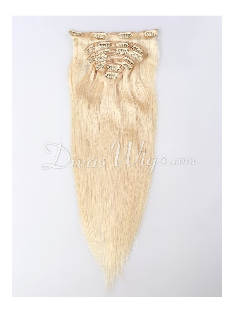 613 Platinum Blonde Virgin Clip In Hair Extension Silky Straight