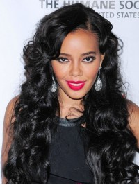Angela Simmons Black Wavy Full Lace Wig-wst024