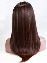 Pumpkin Gold and Red Highlights Straight Full Lace Wig-sc053
