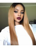 Straight Ombre Color Human Hair Full Lace Wig - sst028