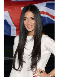Layered Long Straight Celebrity Human Hair Full Lace Wig - sst029
