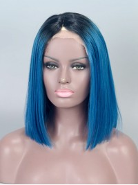 Blue Ombre Short Straight Full Lace Wig - sc008
