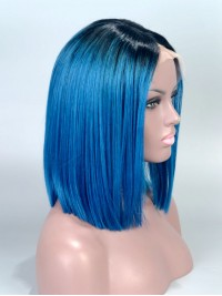 Custom Blue Ombre Short Full Lace Wig - SC008