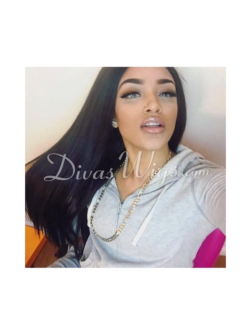 Home gt 180 density brazilian virgin human hair straight full lace wig