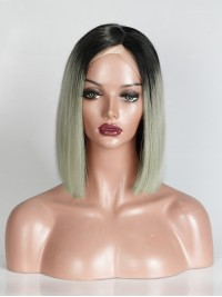 Grey Ombre Short Straight Full Lace Wig - sc012