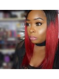 Red Ombre Short Straight Full Lace Wig - sc013