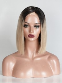 Custom #1/#27A Ombre Color Short Straight Full Lace Wig - sc015