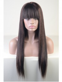 Custom Highlight Color Straight Brazilian Hair Full Lace Wig With Bang- SC019