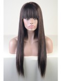 Highlight Color Straight Brazilian Hair Full Lace Wig with Bang- sc019