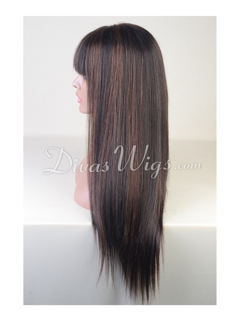 Custom Highlight Color Straight Brazilian Hair Full Lace Wig With
