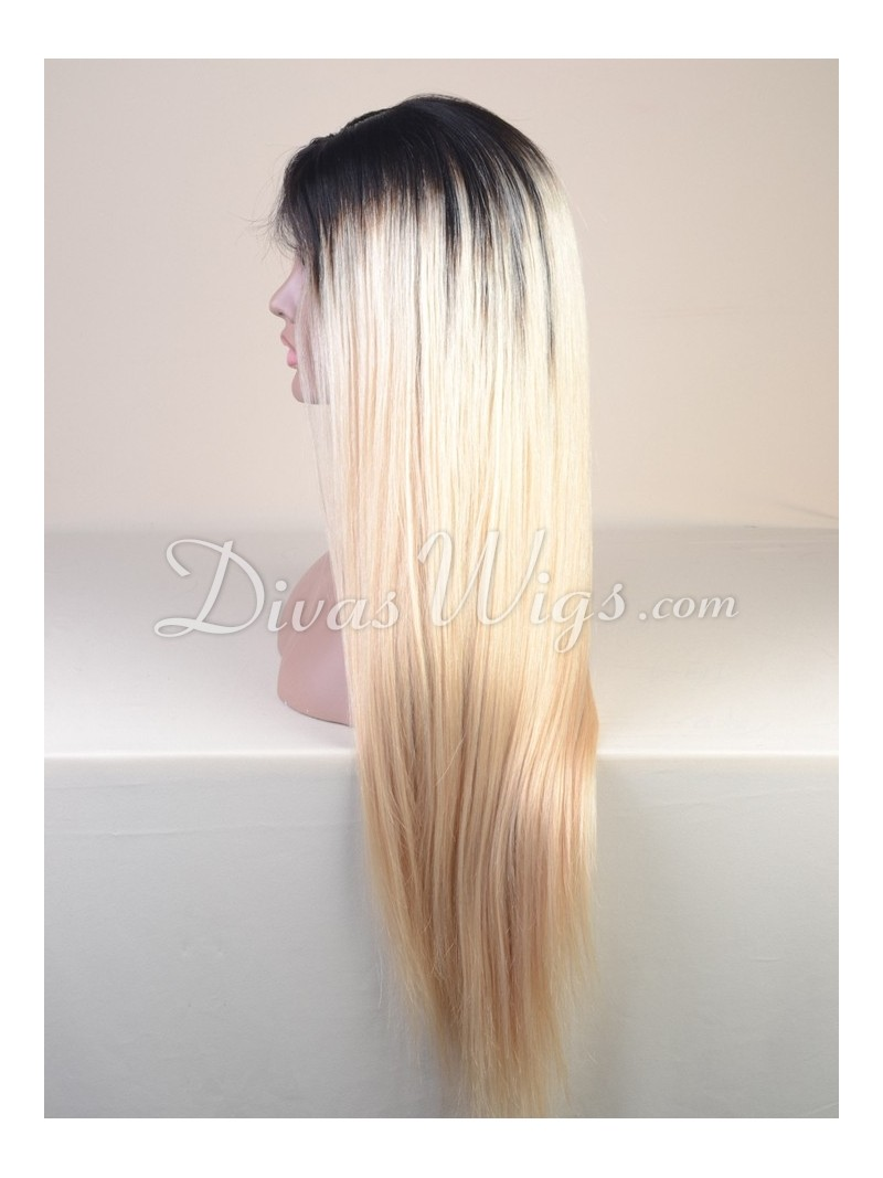 1b T Color 613 Straight Full Lace Human Hair Wig Sc058 Home