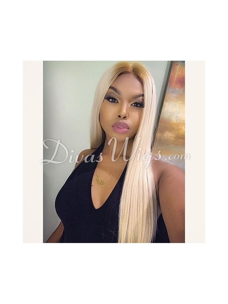 1b T Color 613 Straight Full Lace Human Hair Wig Sc058