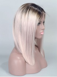 Custom Grey Ombre Bob Hairstyle Straight Virgin Hair Full Lace Wig - sc030