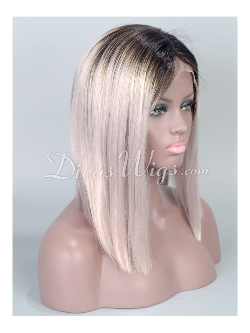 Super Custom Black Grey Ombre Bob Hairstyle Straight Virgin Hair Full Short Hairstyles Gunalazisus