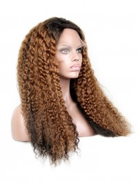 Custom Two-tone Color Curly Human Hair Full Lace Wig - cc011