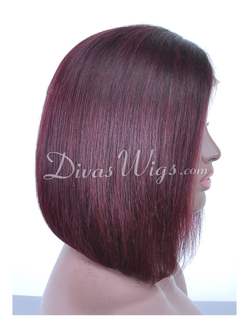 Strange Burgundy Bob Full Lace Human Hair Wig Sc068 Home Divaswigs Com Hairstyle Inspiration Daily Dogsangcom