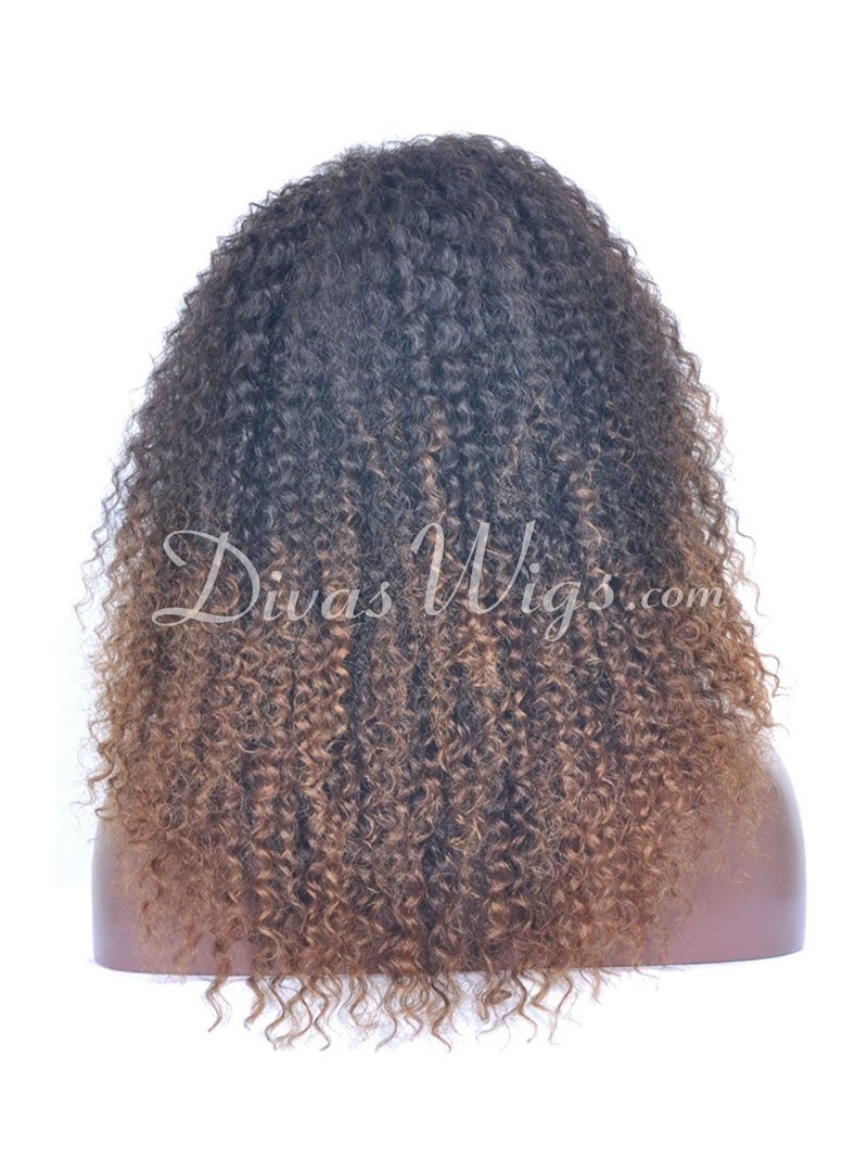 Custom Ombre Curly Full Lace Human Hair Wig Cc068 Home
