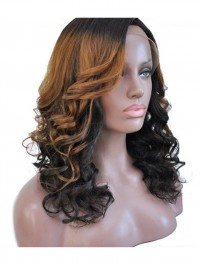 Two-tone shoulder length wavy full lace human hair wig -wst066