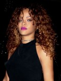 Rihanna Inspired Curly Full Lace Human Hair Wig with highlight -cc066