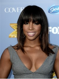 Stock Kelly Rowland Inspired Bob Straight Full Lace Wig With Bang-SC067