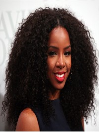 Kelly Rowland inspired Hot Curly Human Hair Full Lace Wig - cst010