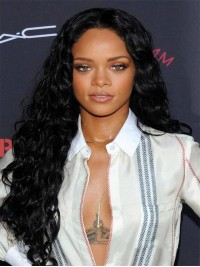 Rihanna Inspired Long Curly Full Lace Human Hair Wig -cc038