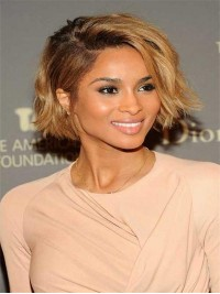 Custom Ciara inspired blunt cut blond full lace human hair bob-sc089