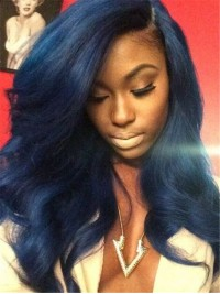 Custom Blue Straight Full Lace Human Hair Wig-WC056