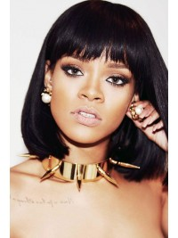 Rihanna Inspired Black  Full Lace Human Hair Bob With Bang - RR023