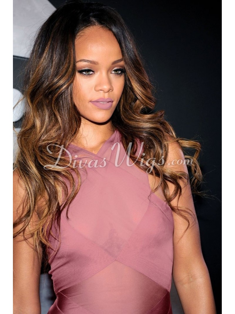 Stock Rihanna Inspired Ombre Full Lace Human Hair Wig With