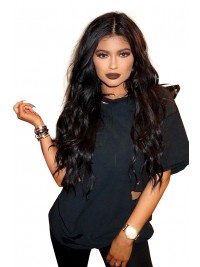 kylie Jenner Inspired long black wavy Full Lace wig -KJ036