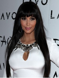 Long Straight Human Hair Lace Front Wig with Bang-LF-sc037