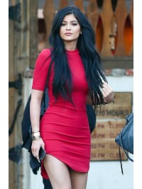 kylie Jenner Inspired long jet black straight Human Hair Lace Front wig -LF-KJ078